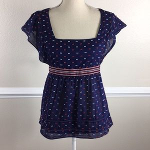 Fei Anthropologie Skysail Top Navy Blue Size 8 M